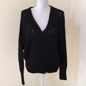 NWT! Free People medium black V neck sweater